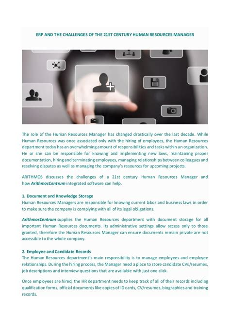 challenges of human resource managers erp and the challenges of the 21 st century human