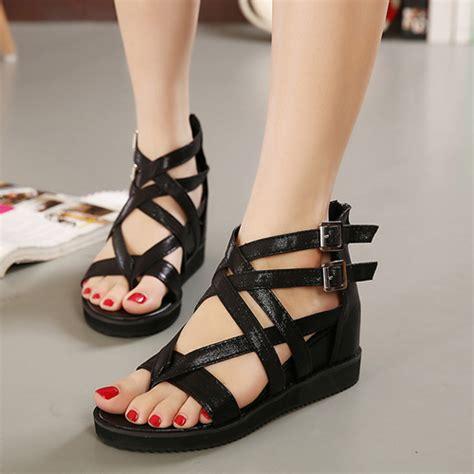 cheap black gladiator sandals cheap fashion high wedge black pu gladiator sandals
