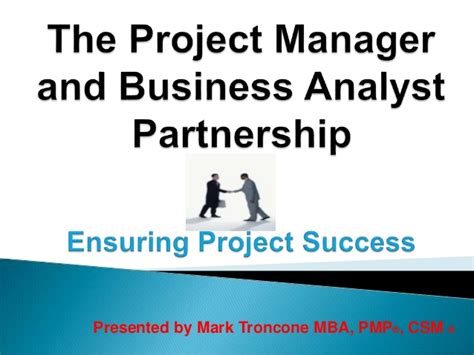 Mba Help Busniess Analyst by The Project Manager And Business Analyst Partnership