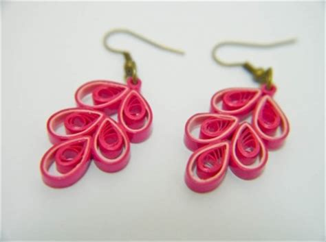 quilling earrings tutorial for beginning ooak pink chinese button paper quilled earrings meylah