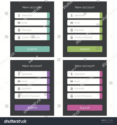 registration form flat design template website stock