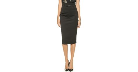 black halo high waisted pencil skirt in black lyst