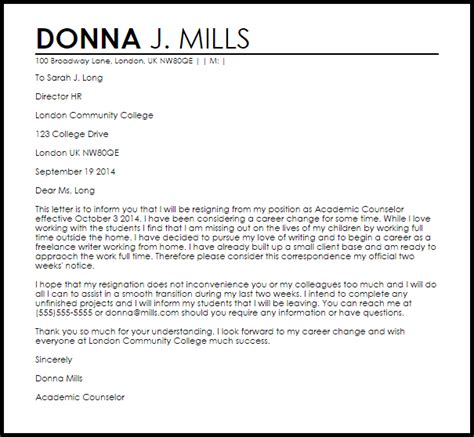 Resignation Letter Format Career Change Career Change Resignation Letter Resignation Letters Livecareer