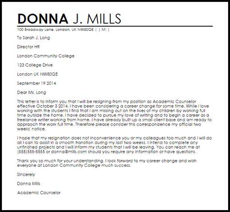 Career Change Resignation Letter   Resignation Letters