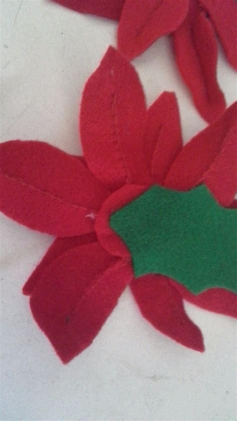 Mainan Gantung Bayi Bahan Flanel jual bunga natal flanel poinsettia kastuba merah felt