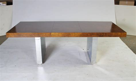 wood and chrome dining table roger sprunger for dunbar walnut burl wood and chrome