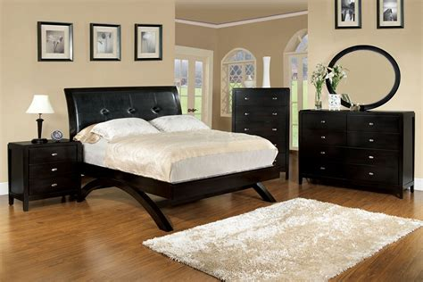 queen delano arched legs bed espresso padded leatheer hb bed