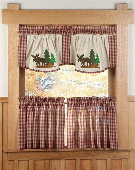 all in one curtain set 5 pc all in one curtain set valance ties backs moose deer