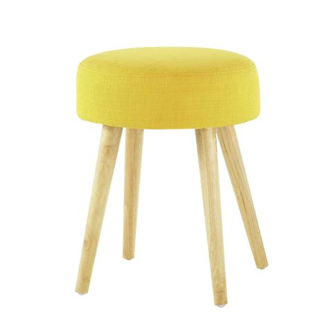 Yellowish Stool by Pin Up Wood And Fabric Stool In Yellow Maisons Du Monde