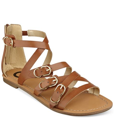 Flat Shoes Cynthia Bernice 595 lyst g by guess s harris strappy flat sandals in brown