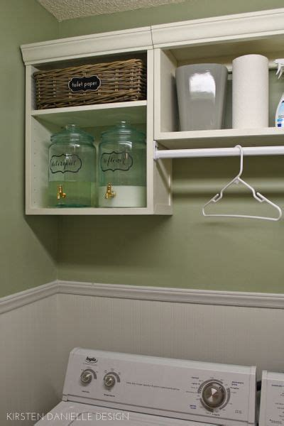 Laundry Room Cabinets With Hanging Rod 25 Ideas For Small Laundry Spaces Jars Glasses And Cabinets