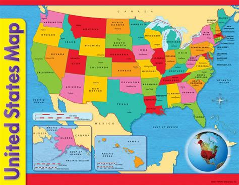 united states map for learning states chart usa map 17 x 22 gr 1 8 t 38097