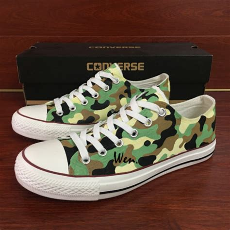 army converse sneakers army camouflage pattern design converse painted