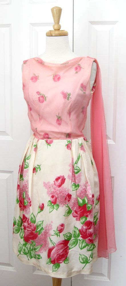 Cpmk Feminime Pink my beautiful dress floral dress 1950s partydress vintage frock retro sundress