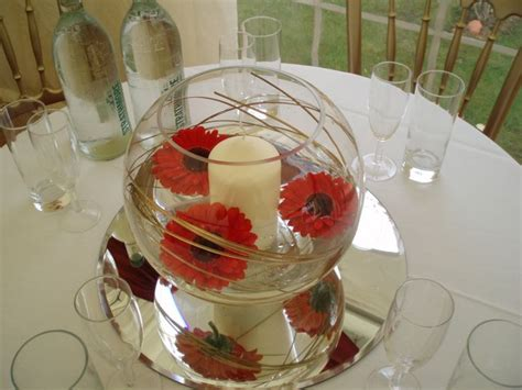 candle and gerbera fishbowl centre piece diy bride