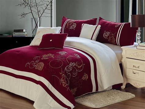 7 pcs burgundy floral embroidery bed in a bag quilt