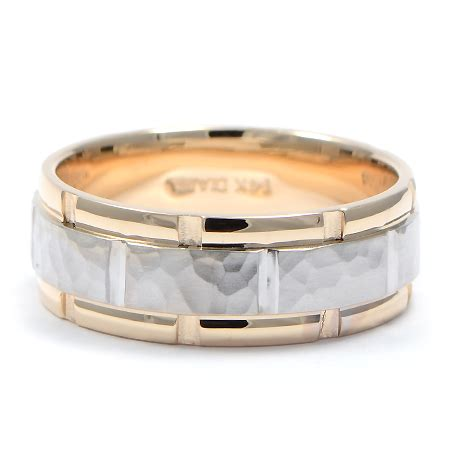 Wedding Bands Mn by Hammered White Yellow Gold S Wedding Band
