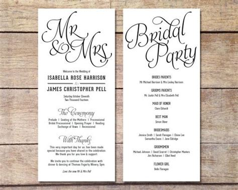 simple wedding program template simple wedding program customizable design