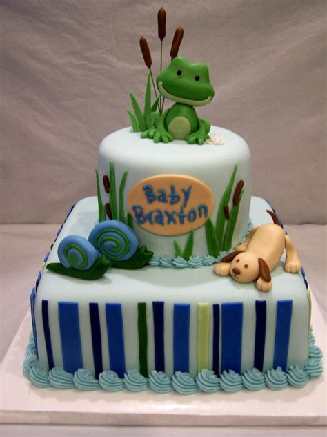 Frog Baby Shower by Frogs Snails And Puppy Tails Baby Shower Cake Baby