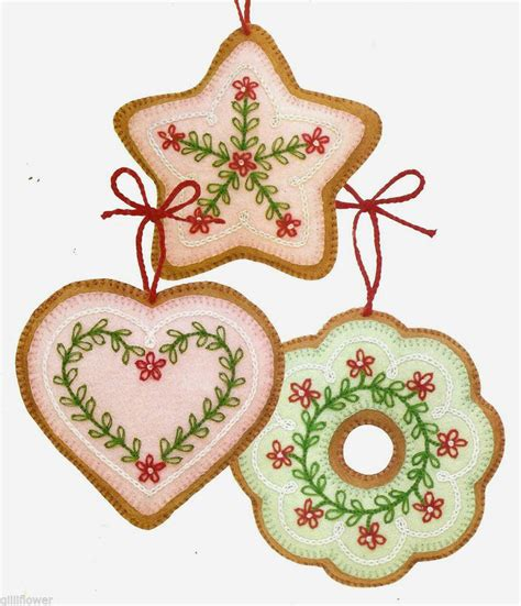 felt cookie christmas tree ornaments vintage sewing
