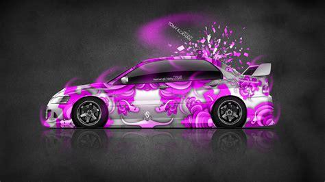 pink mitsubishi mitsubishi lancer evolution jdm domo kun toy car 2014 el