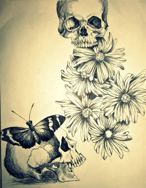 Drawings Of Flowers And Skulls