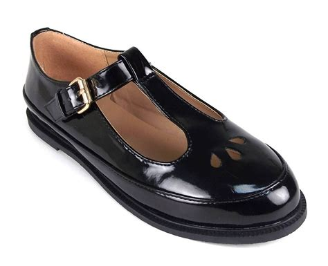 black t bar dolly shoes gold buckle t bar cut out school
