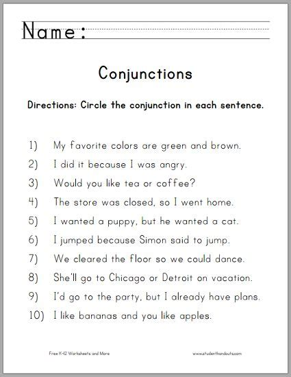 printable conjunction quiz circle the conjunctions worksheet for grade one free to