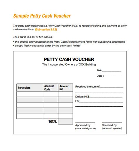 petty receipt voucher template sle petty voucher template 9 free documents in