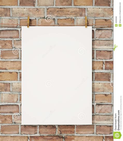 poster mock up on the brick wall stock vector image mock up blank white hanging poster with clothespin and