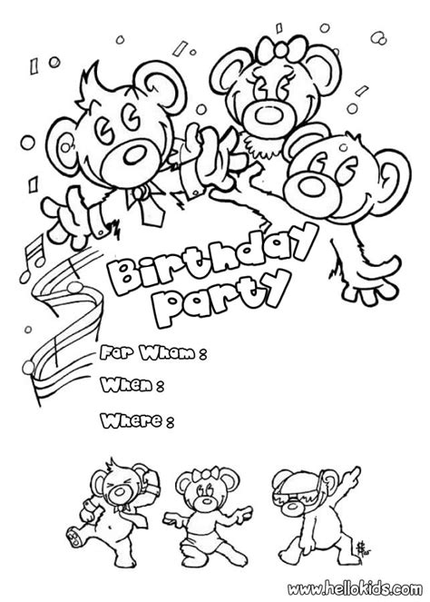 coloring page birthday invitation bears birthday party invitation coloring pages