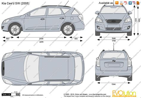 Kia Ceed Dimensions The Blueprints Vector Drawing Kia Cee D Sw