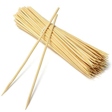 100Pcs Bamboo Skewers BBQ Sticks Kabob Grilling Party
