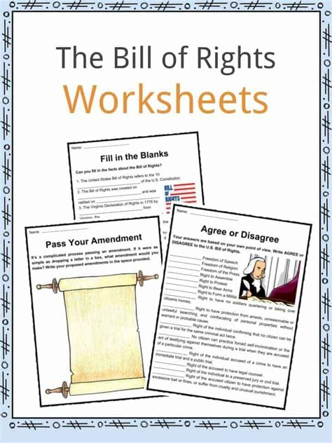 printable version of the us bill of rights the united states bill of rights facts worksheets for kids
