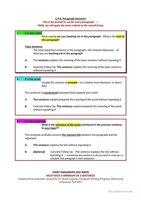 essay structure esl cpr paragraph and essay structure worksheet free esl