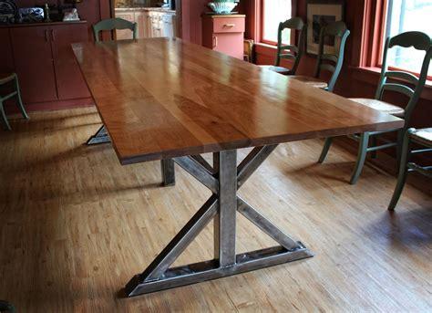 handmade birch  steel trestle dining table  higgins