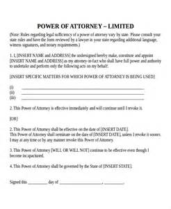 power of attorney template sle blank power of attorney form sle power of