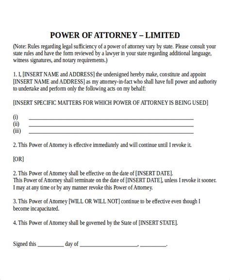 photo store power of attorney outline