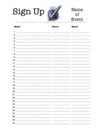 printable sign up sheet template sign up sheets printable