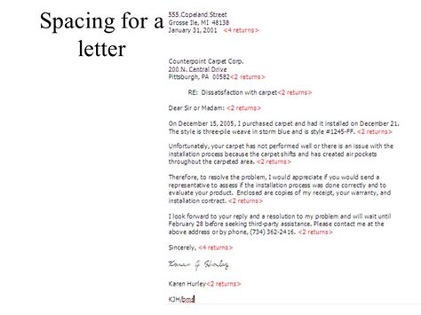 business letter parts and spacing parts of a business letters ppt