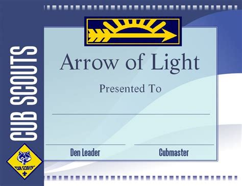 cub scout award card template 621017 1000 ideas about arrow of lights on cub