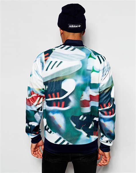 Fero Adidas Navy Jaket Sweater adidas originals track jacket in chaos print in green for lyst