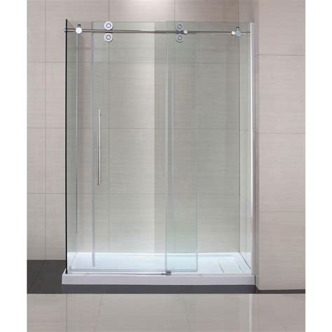 Sliding Glass Doors Shower Schon Lindsay 60 In X 79 In Semi Framed Shower Enclosure With Sliding Glass Shower Door In