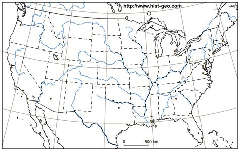 blank map    continental states rivers main