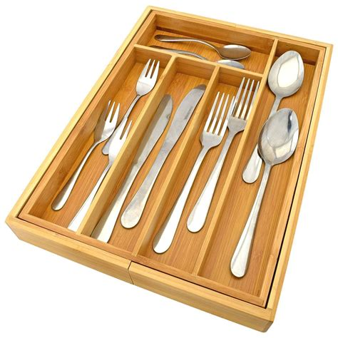 Expandable Cutlery Trays For Kitchen Drawers by Bamboo Wooden Expandable Cutlery Drawer Tray Kitchen