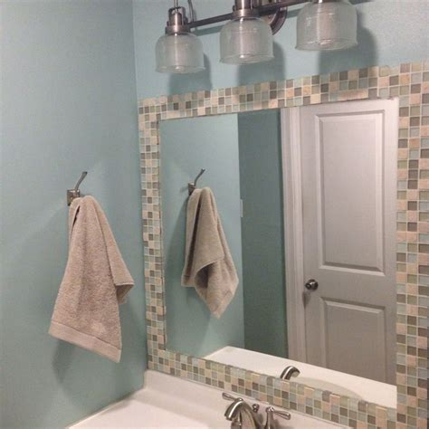 tile framed bathroom mirror glass tile framed mirror for the home pinterest home