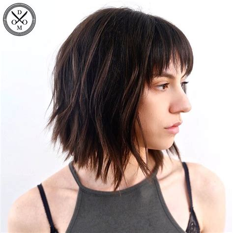 lob hairstyles layered and choppy medium length haircuts for thick hair