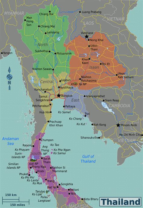map in maps of thailand detailed map of thailand in tourist travel map of thailand road
