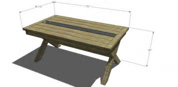 Patio Table Size Free Diy Furniture Plans To Build A Rustic Outdoor Table With Built In Drink Cooler The Design