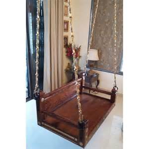 Customized Bookshelves by Wooden Swing With Brass Chain Sheesham Wood Rosewood